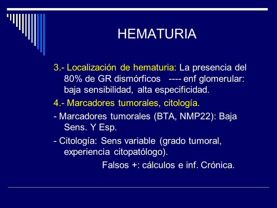 HEMATURIA 3.- Localización de hematuria: La presencia del 80% de GR dismórficos ---- enf glomerular: baja sensibilidad, alta especificidad.
