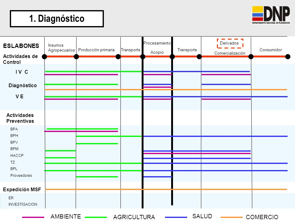 1. Diagnóstico ESLABONES AMBIENTE AGRICULTURA SALUD COMERCIO