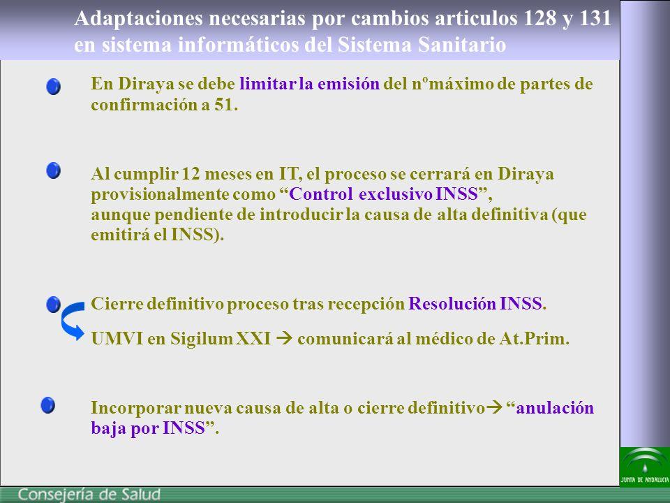 Adaptaciones necesarias por cambios articulos 128 y 131