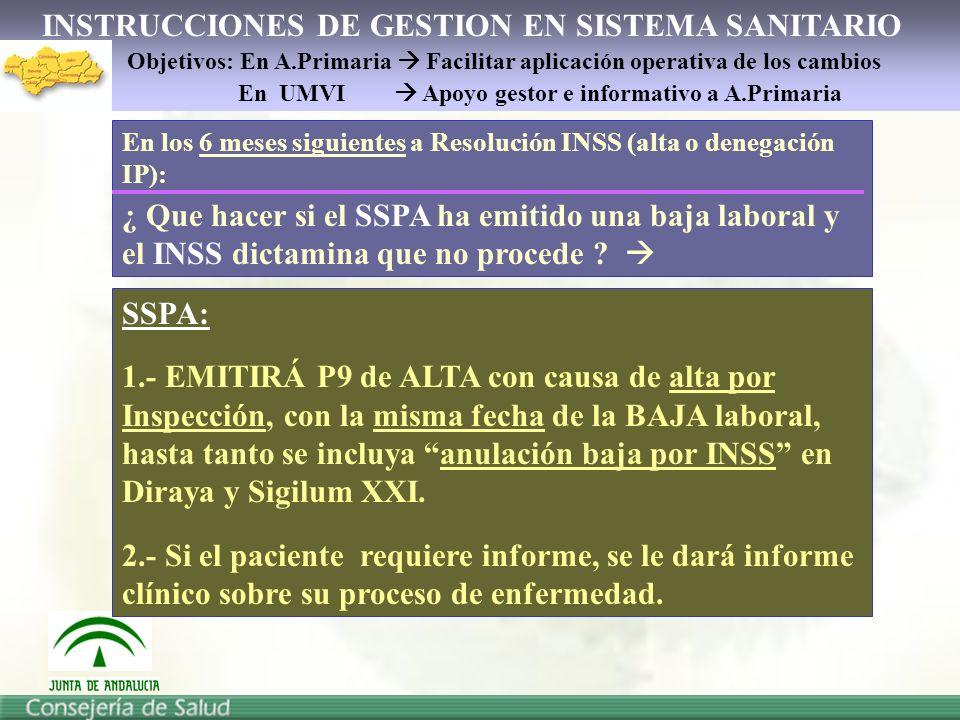 INSTRUCCIONES DE GESTION EN SISTEMA SANITARIO