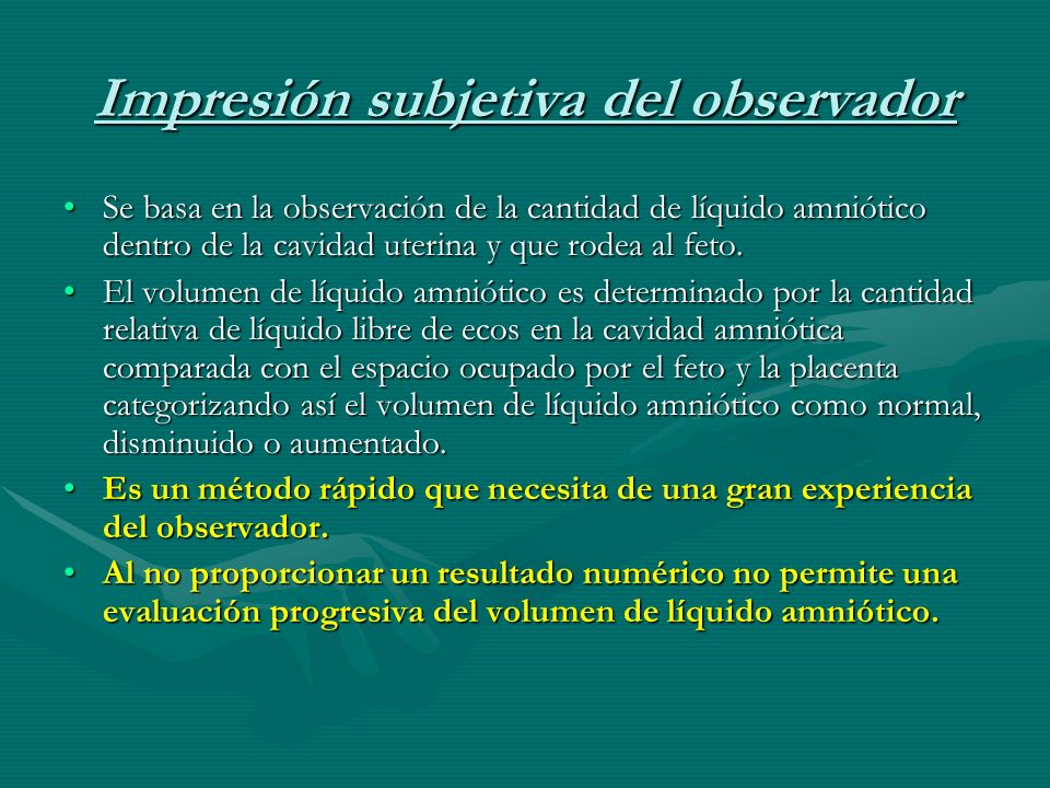 Impresión subjetiva del observador