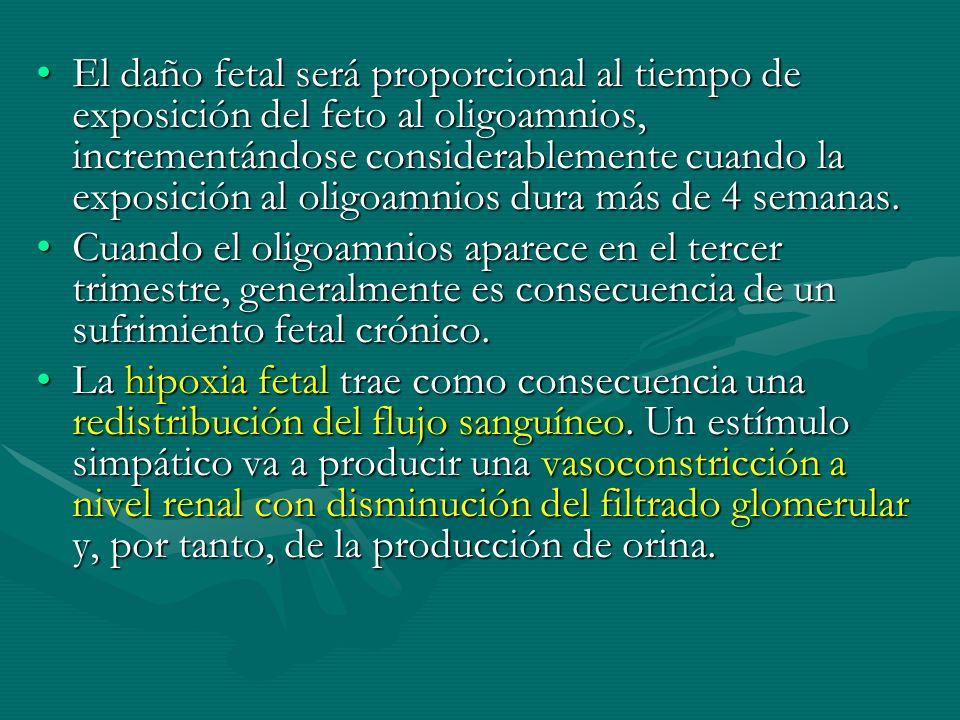 El daño fetal será proporcional al tiempo de exposición del feto al oligoamnios, incrementándose considerablemente cuando la exposición al oligoamnios dura más de 4 semanas.