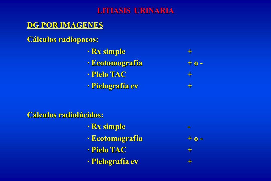LITIASIS URINARIA DG POR IMAGENES. Cálculos radiopacos: · Rx simple + · Ecotomografía + o -