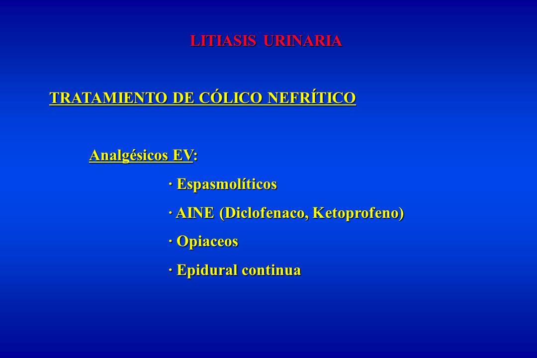 LITIASIS URINARIA TRATAMIENTO DE CÓLICO NEFRÍTICO. Analgésicos EV: · Espasmolíticos. · AINE (Diclofenaco, Ketoprofeno)