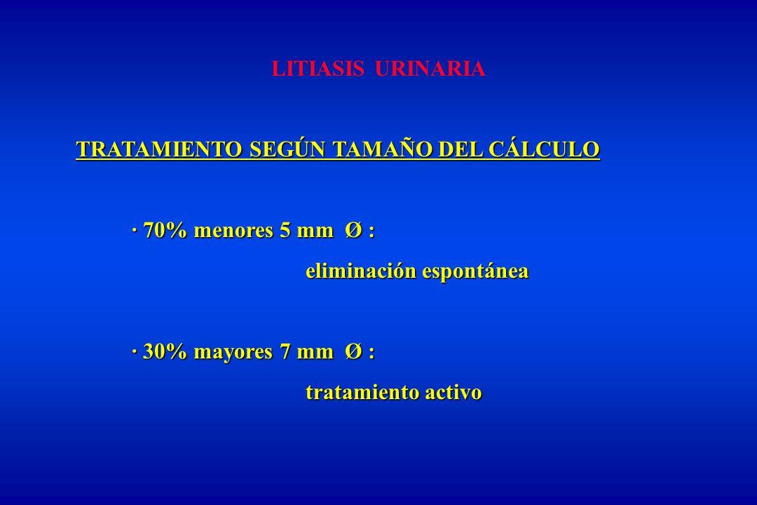 LITIASIS URINARIA TRATAMIENTO SEGÚN TAMAÑO DEL CÁLCULO. · 70% menores 5 mm Ø : eliminación espontánea.