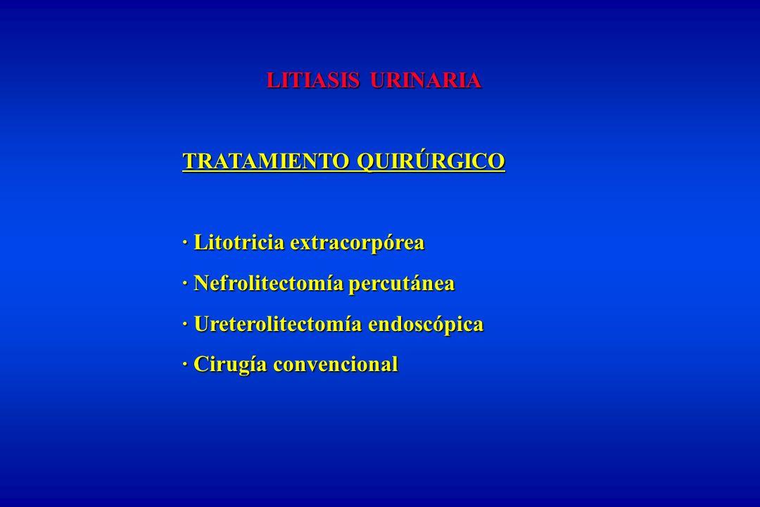 LITIASIS URINARIA TRATAMIENTO QUIRÚRGICO. · Litotricia extracorpórea. · Nefrolitectomía percutánea.