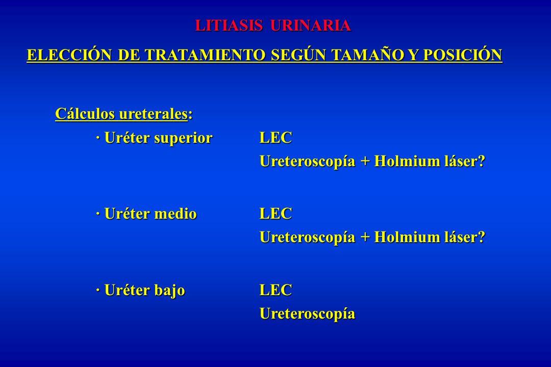 LITIASIS URINARIA ELECCIÓN DE TRATAMIENTO SEGÚN TAMAÑO Y POSICIÓN. Cálculos ureterales: · Uréter superior LEC.