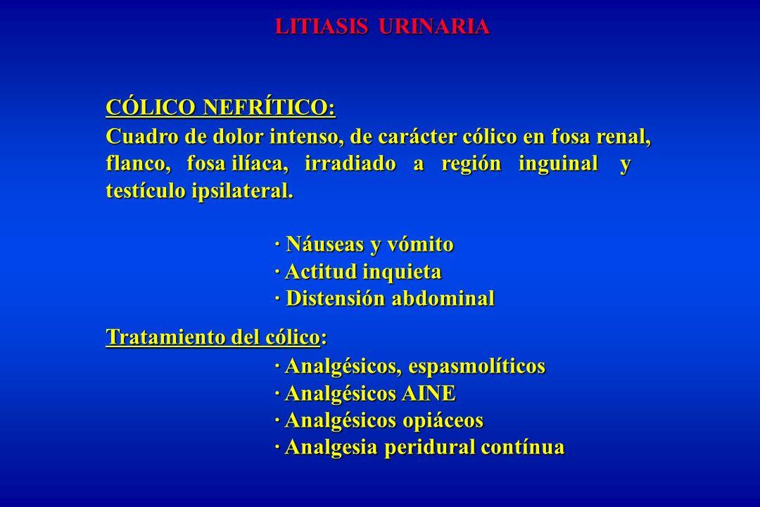 LITIASIS URINARIA CÓLICO NEFRÍTICO: Cuadro de dolor intenso, de carácter cólico en fosa renal,