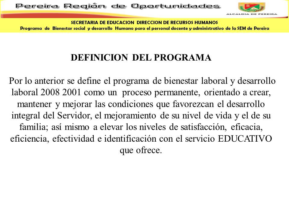 DEFINICION DEL PROGRAMA