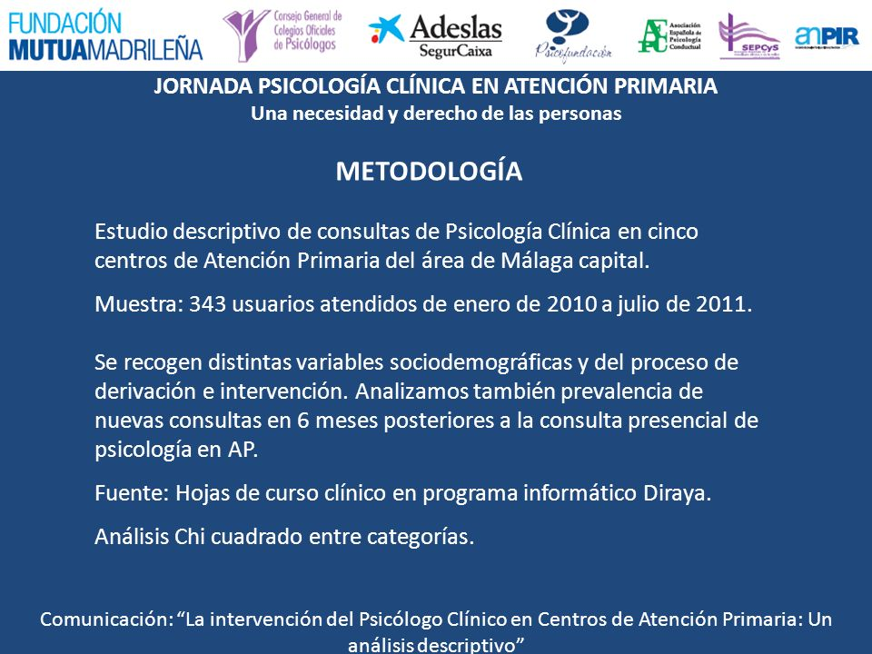 METODOLOGÍA Estudio descriptivo de consultas de Psicología Clínica en cinco centros de Atención Primaria del área de Málaga capital.