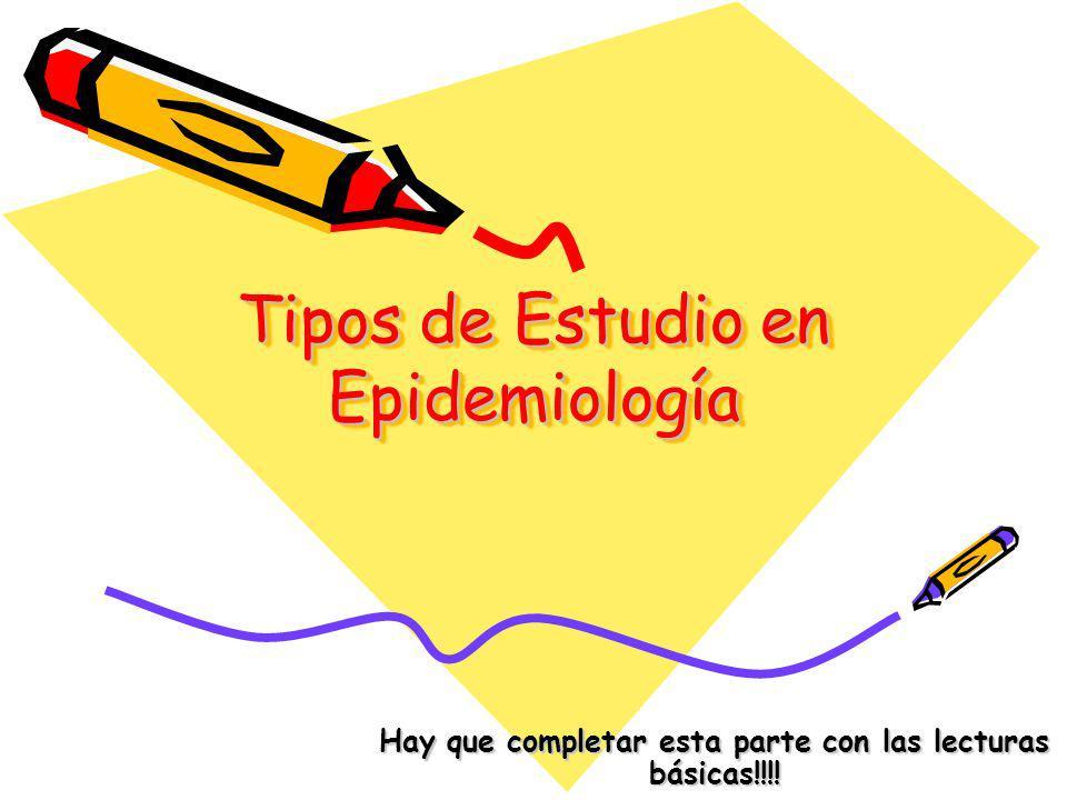 Tipos de Estudio en Epidemiología