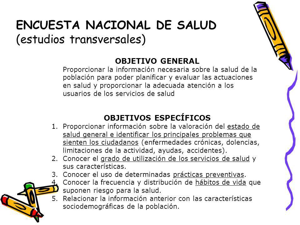 ENCUESTA NACIONAL DE SALUD (estudios transversales)