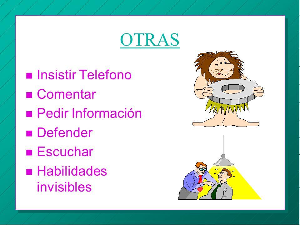 OTRAS Insistir Telefono Comentar Pedir Información Defender Escuchar