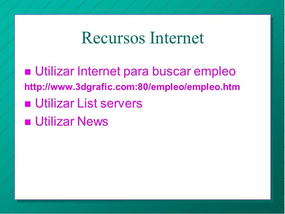 Recursos Internet Utilizar Internet para buscar empleo