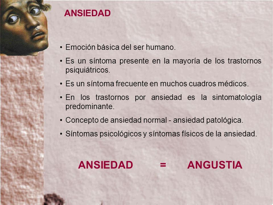 ANSIEDAD = ANGUSTIA ANSIEDAD Emoción básica del ser humano.