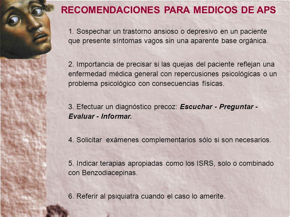 RECOMENDACIONES PARA MEDICOS DE APS