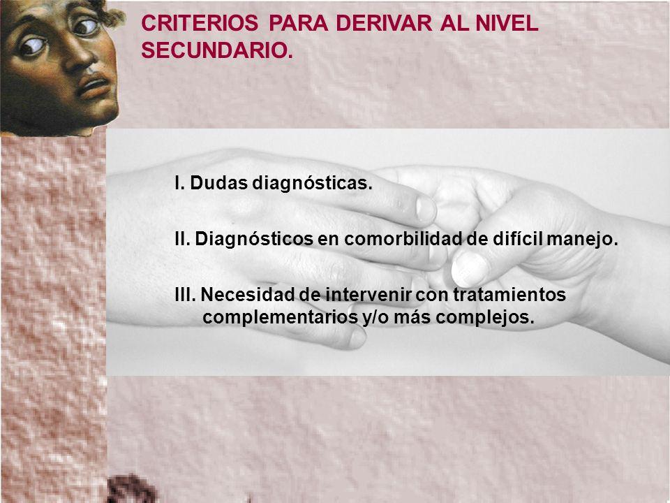 CRITERIOS PARA DERIVAR AL NIVEL SECUNDARIO.