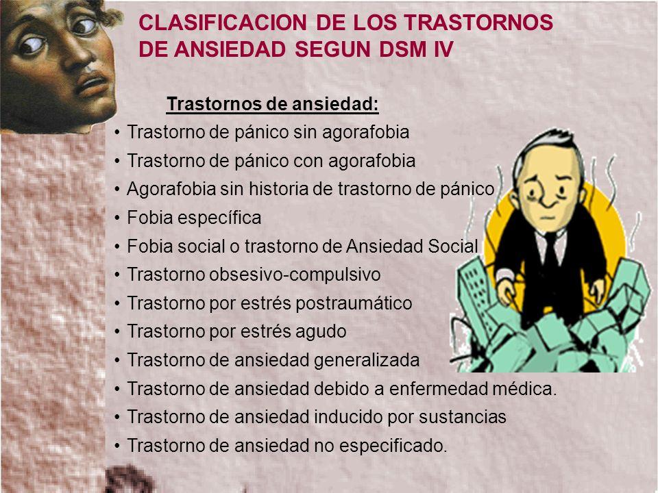 CLASIFICACION DE LOS TRASTORNOS DE ANSIEDAD SEGUN DSM IV