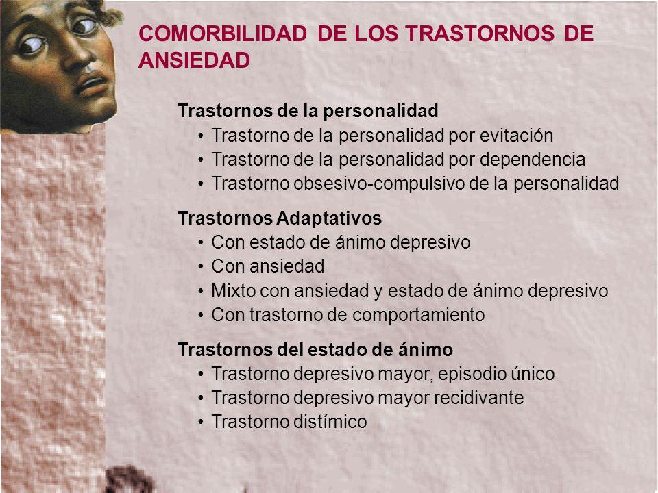COMORBILIDAD DE LOS TRASTORNOS DE ANSIEDAD