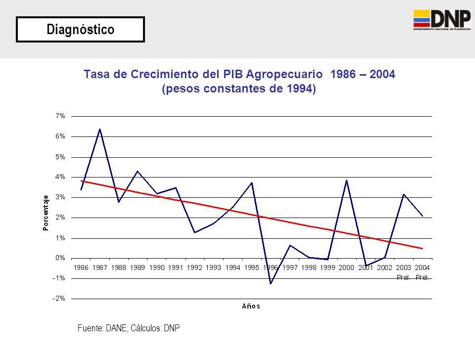 Diagnóstico Tasa de Crecimiento del PIB Agropecuario 1986 – 2004 (pesos constantes de 1994) Fuente: DANE; Cálculos: DNP.