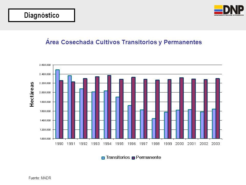 Área Cosechada Cultivos Transitorios y Permanentes