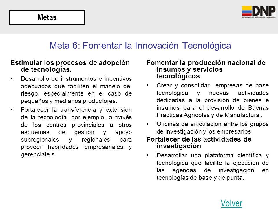 Meta 6: Fomentar la Innovación Tecnológica