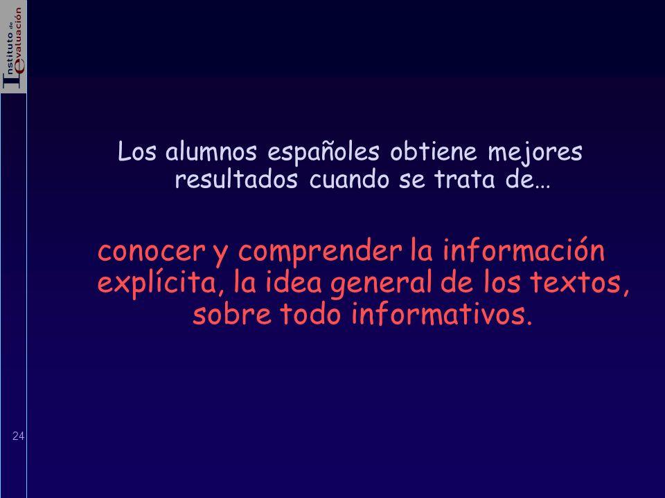 Los alumnos españoles obtiene mejores resultados cuando se trata de…
