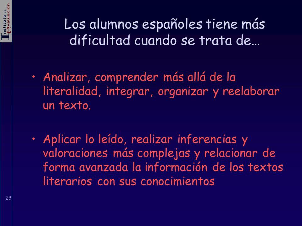 Los alumnos españoles tiene más dificultad cuando se trata de…