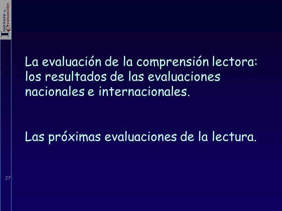 La evaluación de la comprensión lectora: los resultados de las evaluaciones nacionales e internacionales.
