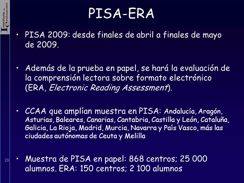 PISA-ERA PISA 2009: desde finales de abril a finales de mayo de 2009.