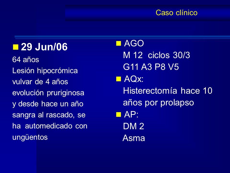 29 Jun/06 AGO M 12 ciclos 30/3 G11 A3 P8 V5 AQx: Histerectomía hace 10