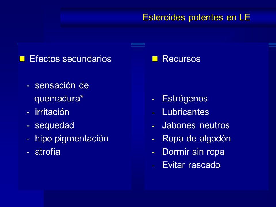 Esteroides potentes en LE