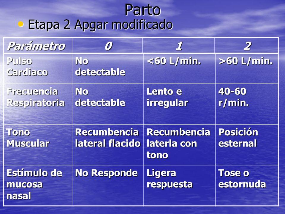 Parto Etapa 2 Apgar modificado Parámetro 1 2 Pulso Cardiaco