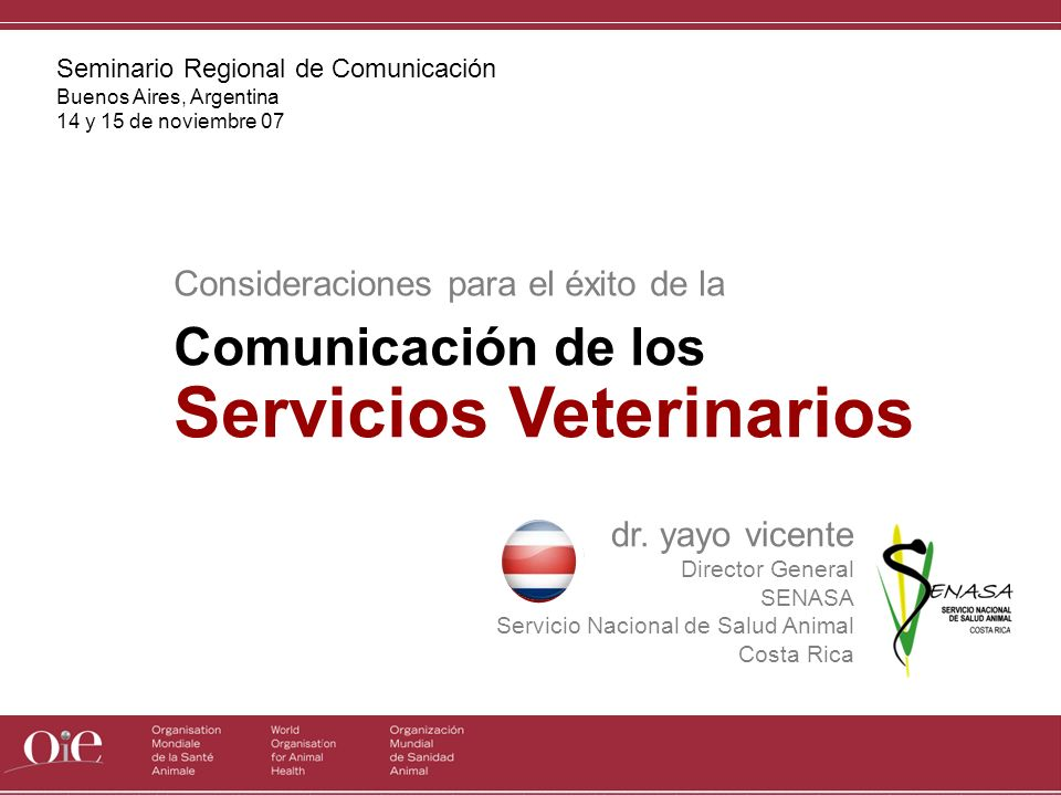 Comunicación de los Servicios Veterinarios