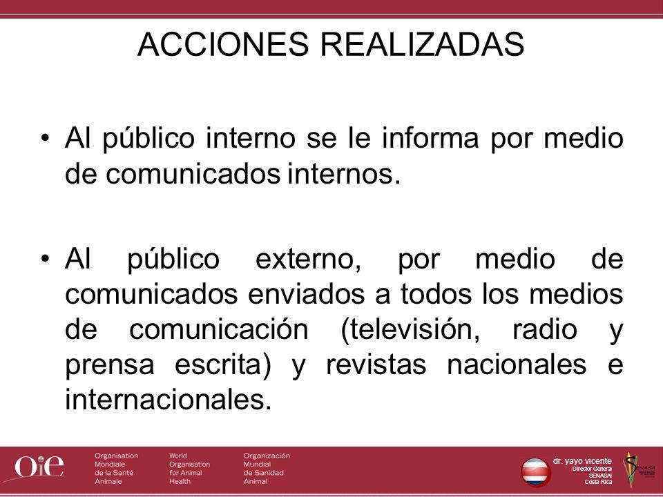 ACCIONES REALIZADAS Al público interno se le informa por medio de comunicados internos.
