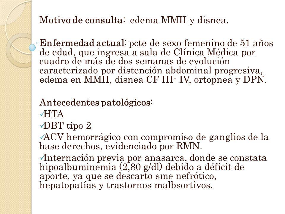 Motivo de consulta: edema MMII y disnea.