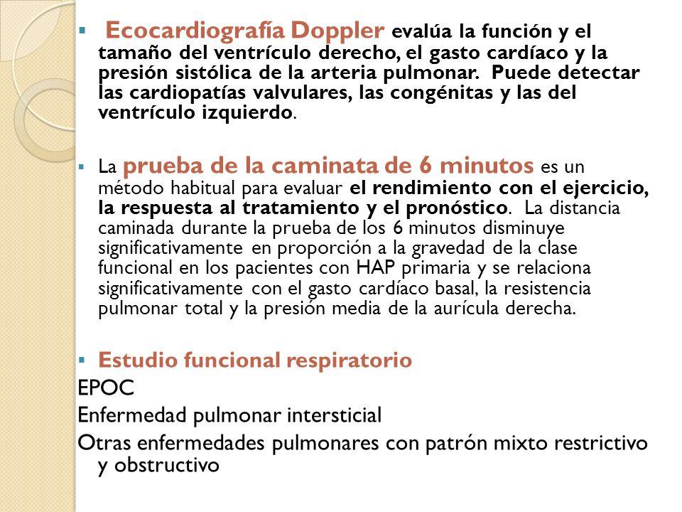 Ecocardiografía Doppler evalúa la función y el tamaño del ventrículo derecho, el gasto cardíaco y la presión sistólica de la arteria pulmonar. Puede detectar las cardiopatías valvulares, las congénitas y las del ventrículo izquierdo.