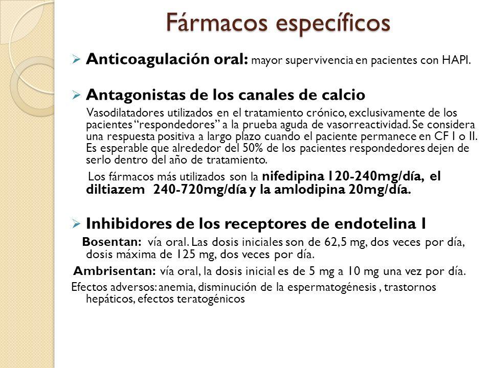 Fármacos específicos Anticoagulación oral: mayor supervivencia en pacientes con HAPI. Antagonistas de los canales de calcio.