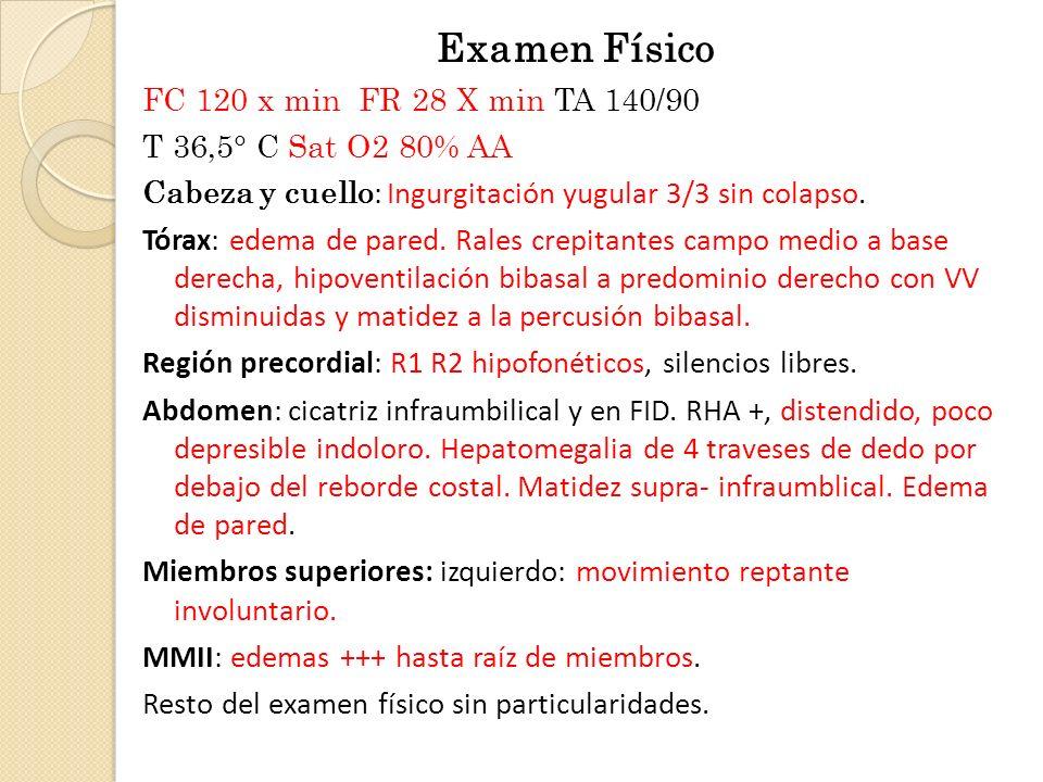 Examen Físico FC 120 x min FR 28 X min TA 140/90