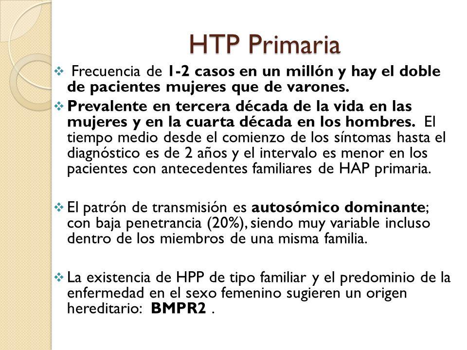HTP Primaria Frecuencia de 1-2 casos en un millón y hay el doble de pacientes mujeres que de varones.