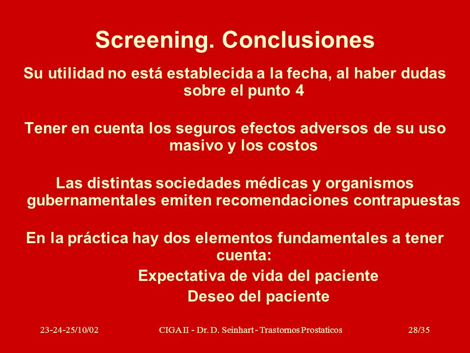 Screening. Conclusiones