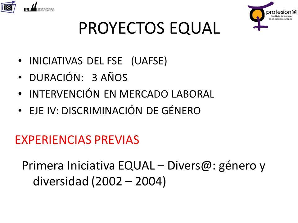 PROYECTOS EQUAL EXPERIENCIAS PREVIAS
