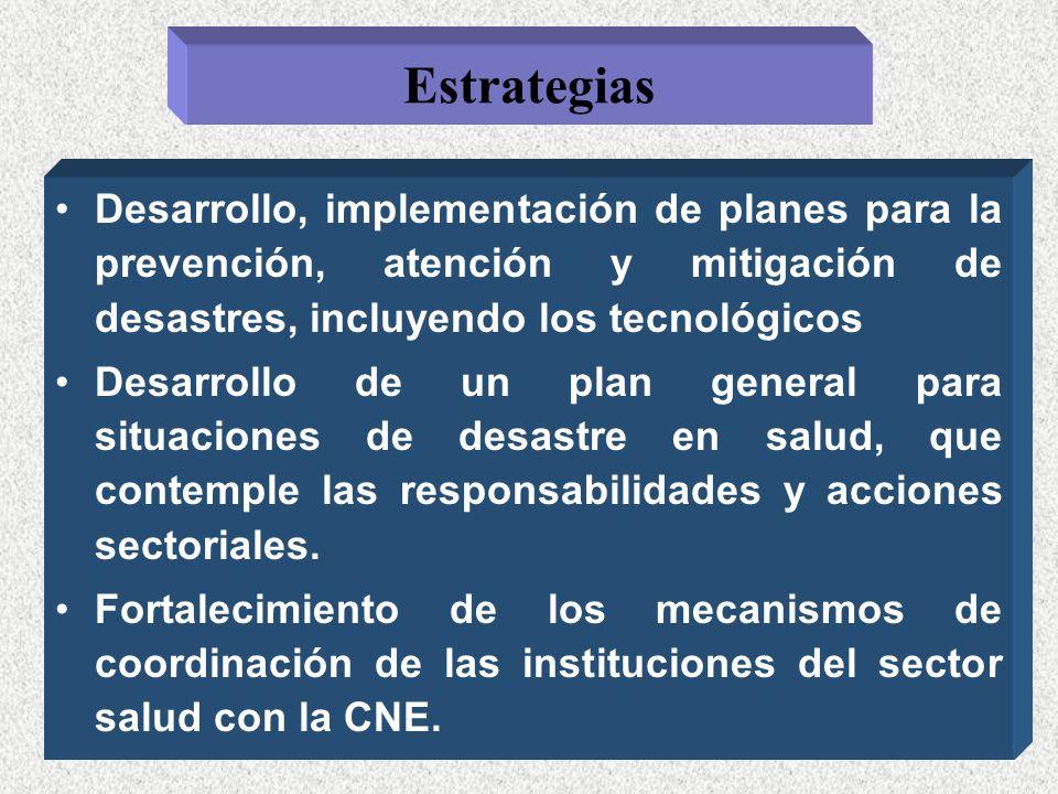 EstrategiasDesarrollo, implementación de planes para la prevención, atención y mitigación de desastres, incluyendo los tecnológicos.
