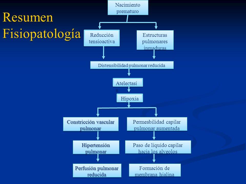 Resumen Fisiopatología Nacimiento prematuro Reducción tensioactiva