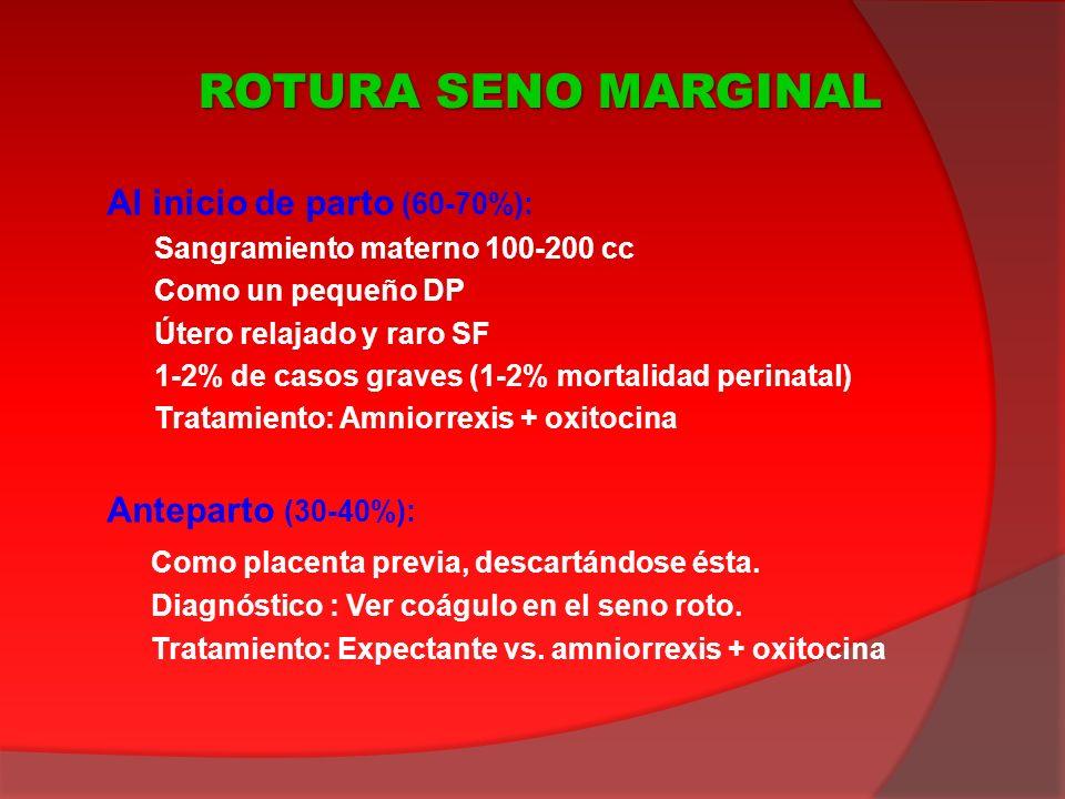 ROTURA SENO MARGINAL Al inicio de parto (60-70%): Anteparto (30-40%):