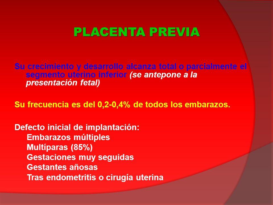 PLACENTA PREVIA Su crecimiento y desarrollo alcanza total o parcialmente el segmento uterino inferior (se antepone a la presentación fetal)