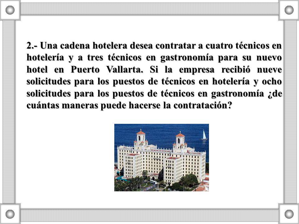 2.- Una cadena hotelera desea contratar a cuatro técnicos en hotelería y a tres técnicos en gastronomía para su nuevo hotel en Puerto Vallarta.