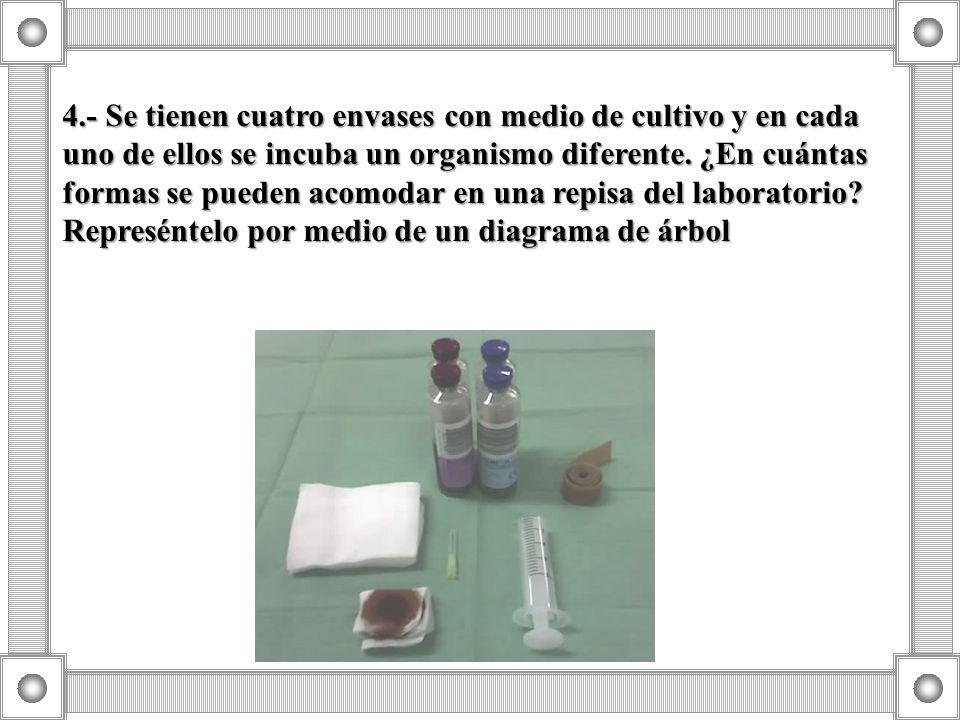 4.- Se tienen cuatro envases con medio de cultivo y en cada uno de ellos se incuba un organismo diferente.
