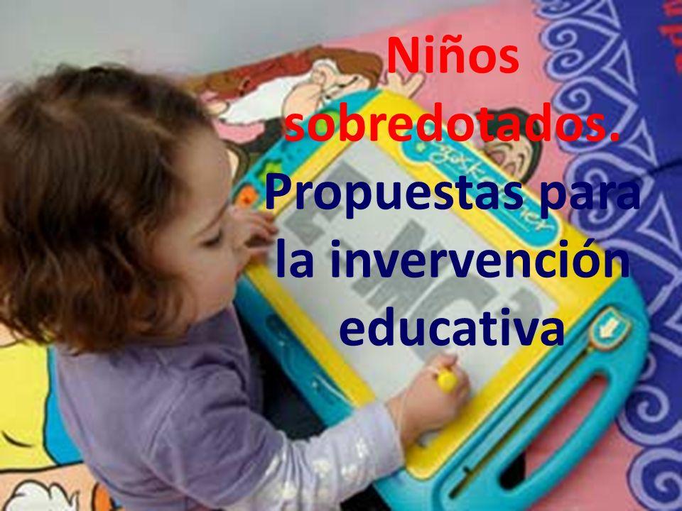 Propuestas para la invervención educativa