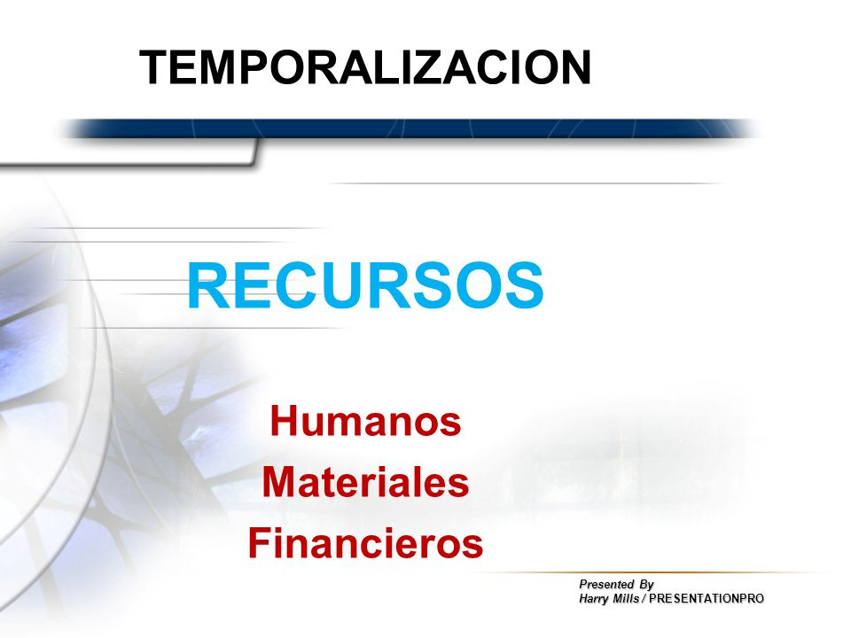 TEMPORALIZACION RECURSOS Humanos Materiales Financieros